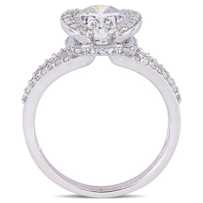 Womens 1/4 CT. T.W. White Moissanite 14K White Gold Engagement Ring