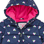 Carter's - Girls Hooded Fleece Lined Water Resistant Heavyweight Puffer Jacket-Baby