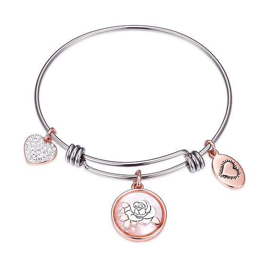 Footnotes Stainless Steel Solid Round Bangle Bracelet