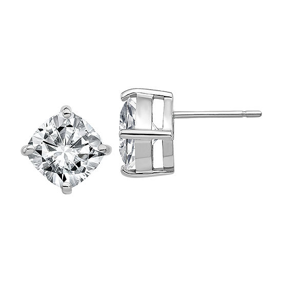 True Light 5 CT. T.W. Lab Created White Moissanite 14K White Gold 8.5mm Stud Earrings