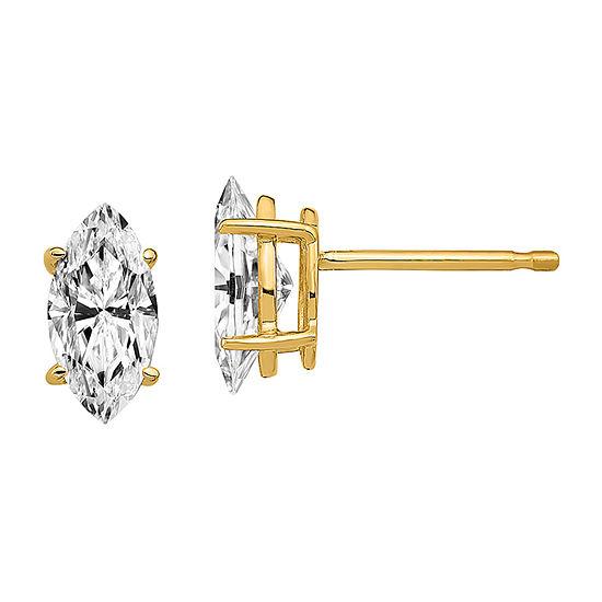 True Light 7/8 CT. T.W. Lab Created White Moissanite 14K Gold 8mm Stud Earrings