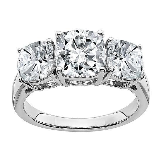 True Light Womens 3 3/4 CT. T.W. Lab Created White Moissanite 14K White Gold 3-Stone Engagement Ring