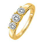 True Light 3MM 1 CT. T.W. Lab Created White Moissanite 14K Gold 3-Stone Band