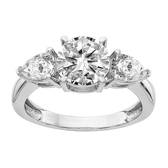 True Light Womens 4 CT. T.W. Lab Created White Moissanite 14K White Gold 3-Stone Engagement Ring