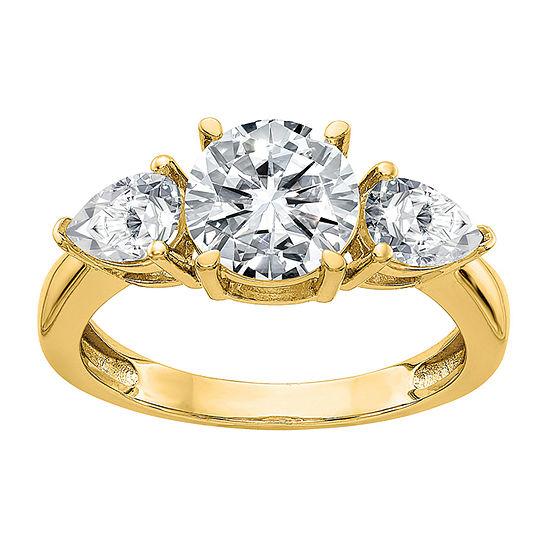 True Light Womens 4 CT. T.W. Lab Created White Moissanite 14K Gold 3-Stone Engagement Ring