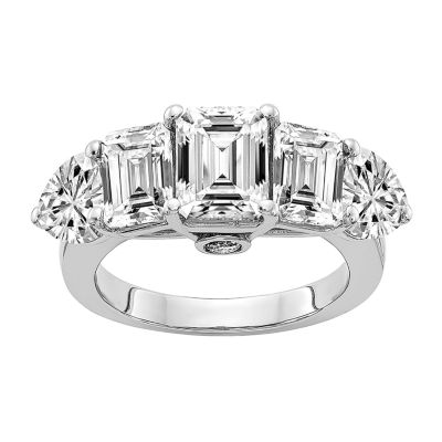 True Light Womens 4 1/2 CT. T.W. Lab Created White Moissanite 14K White Gold Engagement Ring