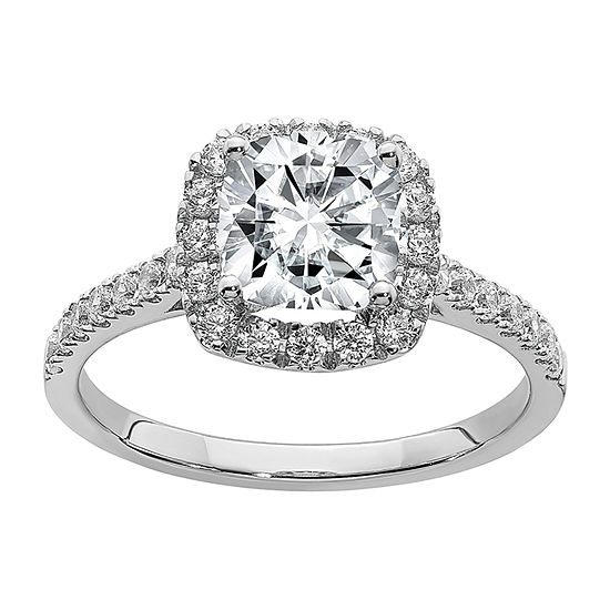 True Light Womens 1 5/8 CT. T.W. Lab Created White Moissanite 14K White Gold Halo Engagement Ring