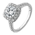 True Light Womens 2 CT. T.W. Lab Created White Moissanite 14K White Gold Halo Engagement Ring