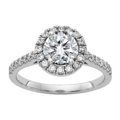True Light Womens 1 3/8 CT. T.W. Lab Created White Moissanite 14K White Gold Halo Engagement Ring