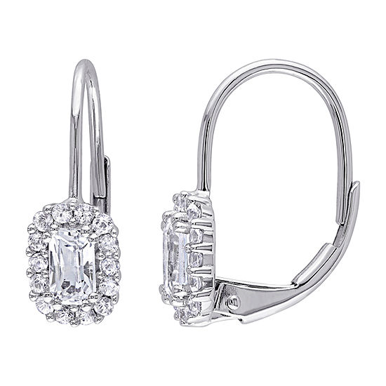 Genuine White Sapphire 10K Gold Drop Earrings
