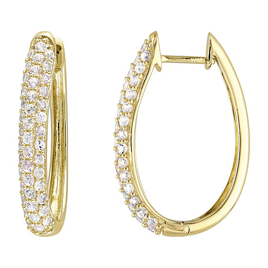 Genuine White Sapphire 10K Gold 26.5mm Hoop Earrings
