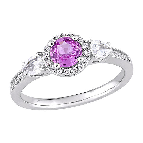Womens 1/8 CT. T.W. Genuine Pink Sapphire 14K Gold Halo Engagement Ring