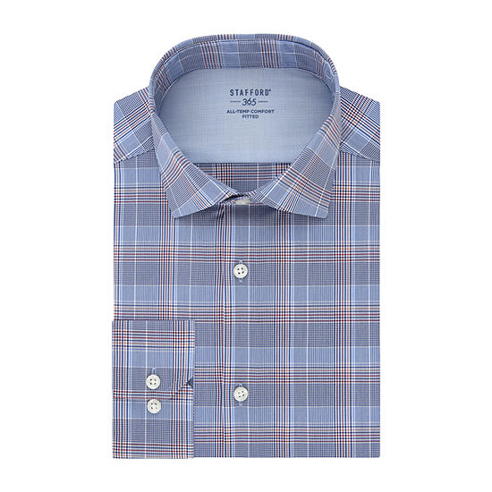 Stafford Mens Wrinkle Free 365 All-Temp Flex Collar Fitted Dress Shirt