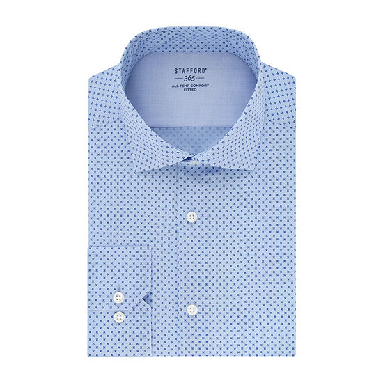 Stafford Mens Spread Collar Long Sleeve Wrinkle Free Stretch Cooling Dress Shirt