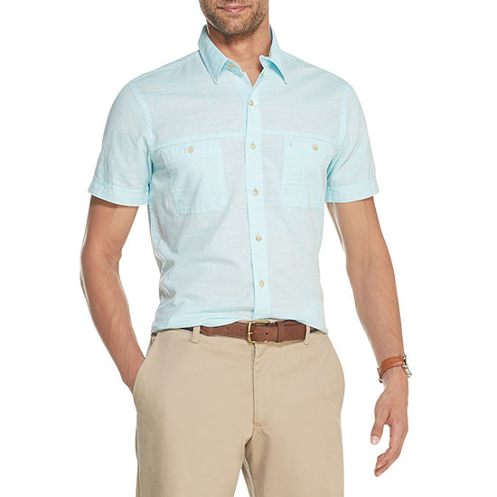 IZOD Mens Short Sleeve Solid Chambray Button-Front Shirt