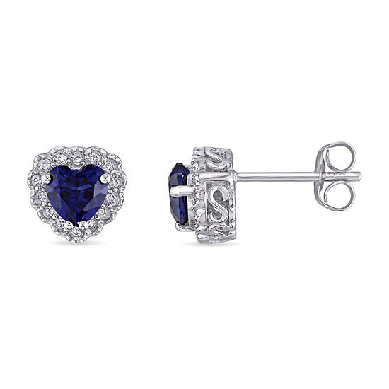 1/10 CT. T.W. Lab Created Blue Sapphire 10K Gold 7.9mm Stud Earrings
