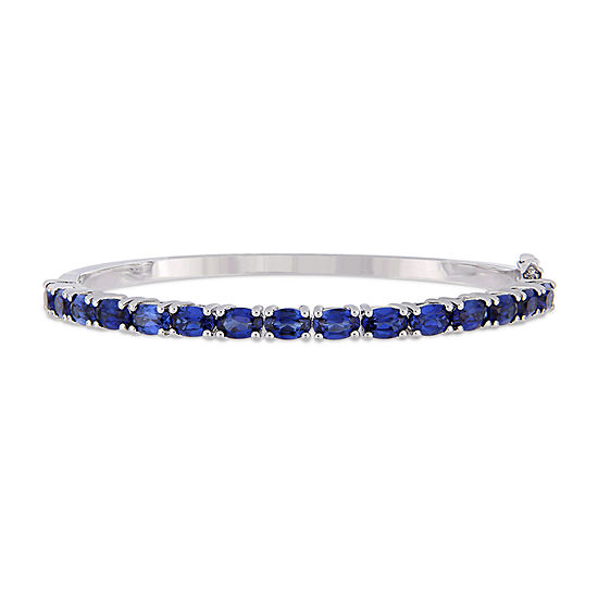 Lab Created Blue Sapphire Sterling Silver Bangle Bracelet