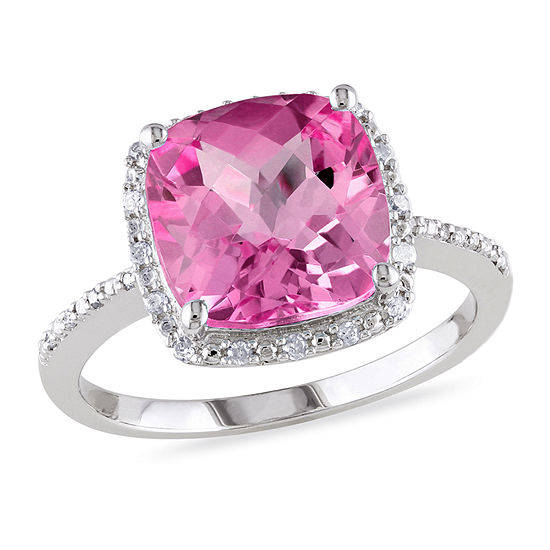 Womens 1/10 CT. T.W. Lab Created Pink Sapphire Sterling Silver Cocktail Ring