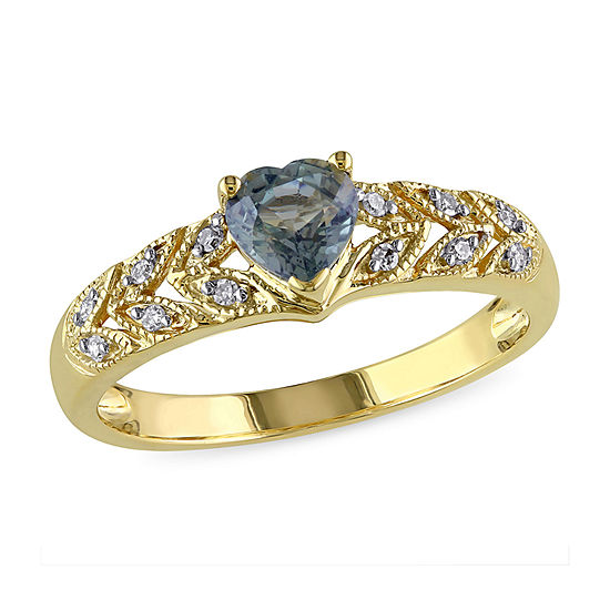 Womens Diamond Accent Genuine Green Sapphire 10K Gold Heart Cocktail Ring