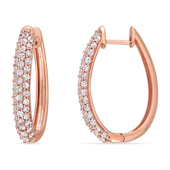 Genuine White Sapphire 10K Gold 25.9mm Hoop Earrings