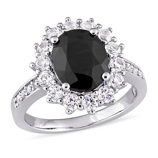 Womens Genuine Black Sapphire Sterling Silver Cocktail Ring