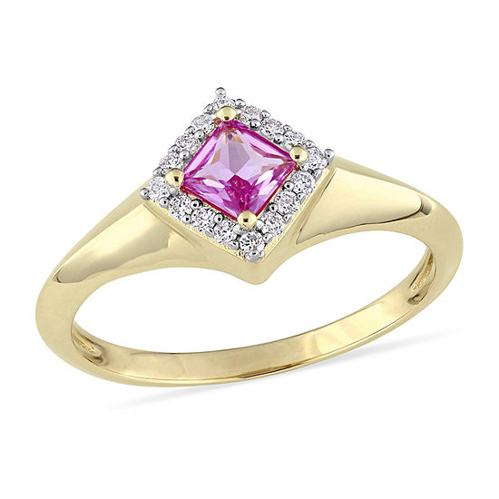 Womens 1/10 CT. T.W. Genuine Pink Sapphire 14K Gold Halo Promise Ring