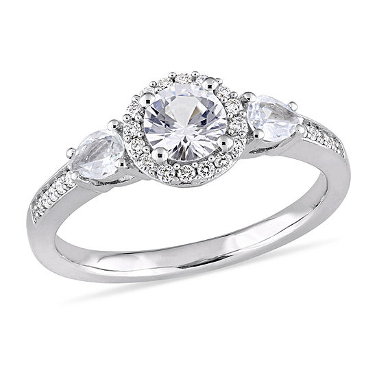 Womens 1/8 CT. T.W. Genuine White Sapphire 14K Gold Halo Engagement Ring