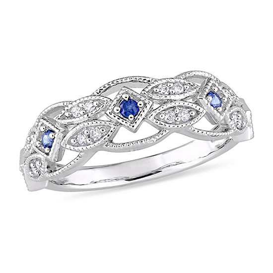 3MM 1/8 CT. T.W. Genuine Blue Sapphire 10K Gold Band