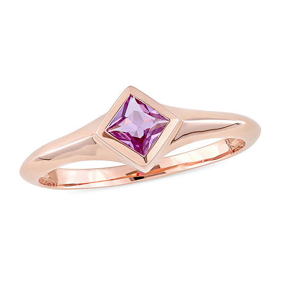 Womens Genuine Pink Sapphire 10K Gold Solitaire Promise Ring