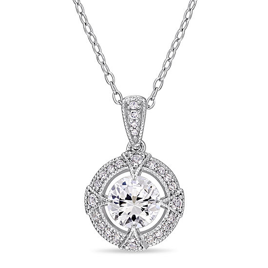Womens 1/10 CT. T.W. Lab Created White Sapphire Sterling Silver Pendant Necklace