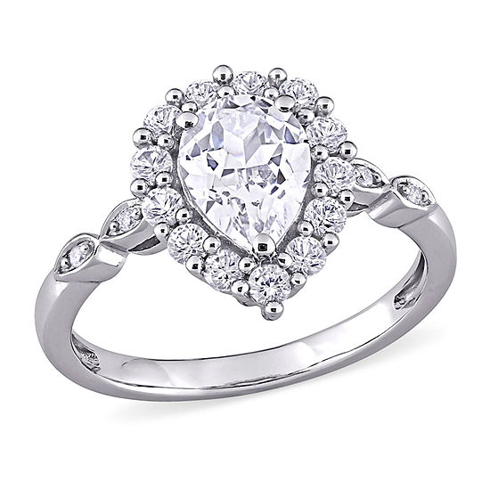 Womens Diamond Accent Lab Created White Sapphire 10K Gold Cocktail Ring