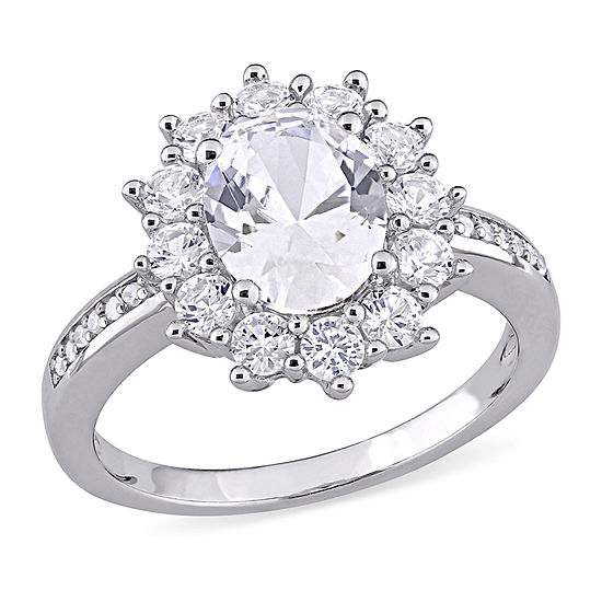 Womens Diamond Accent Lab Created White Sapphire Sterling Silver Cocktail Ring