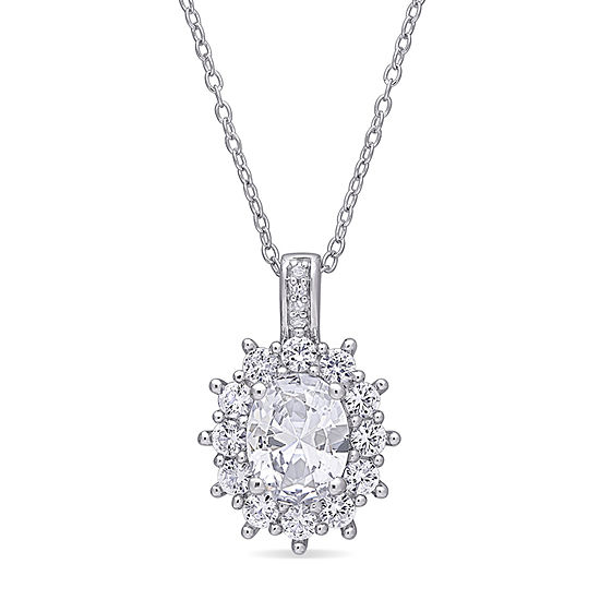 Womens Diamond Accent Lab Created White Sapphire Sterling Silver Pendant Necklace