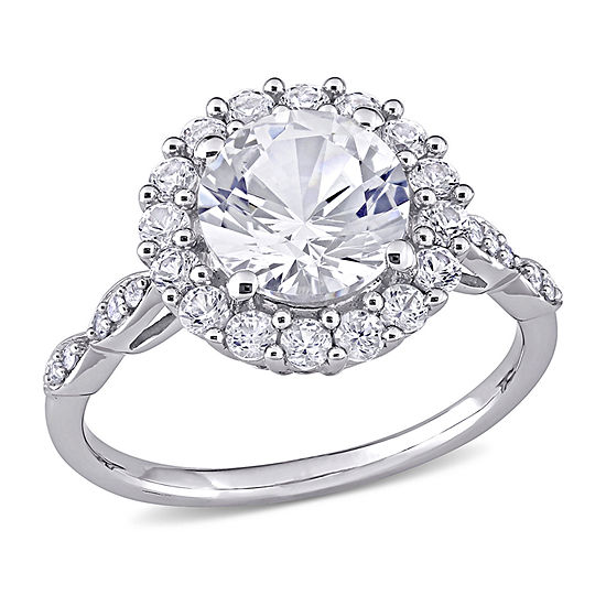 Womens Diamond Accent Lab Created White Sapphire 10K Gold Engagement Ring