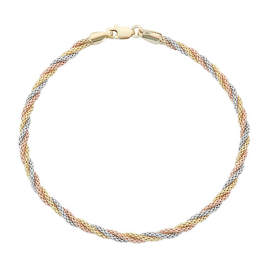 14K Tri-Color Gold 7.5 Inch Hollow Braid Chain Bracelet