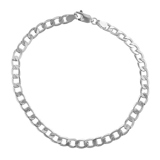 14K White Gold 8 1/2 Inch Hollow Curb Chain Bracelet