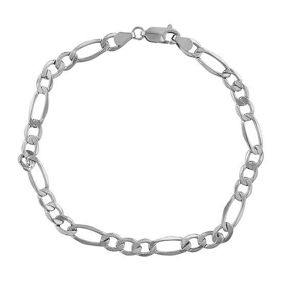 """14K White Gold 8-8 1/2"""" 5mm Hollow Figaro Chain Bracelet"""
