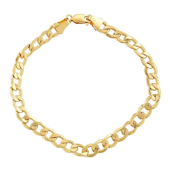 "14K Gold 8-8 1/2"" 6mm Hollow Curb Chain Bracelet"