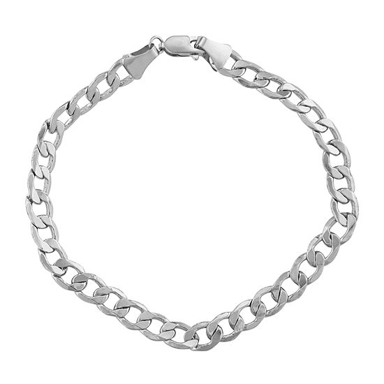 14K White Gold 8 Inch Hollow Curb Chain Bracelet
