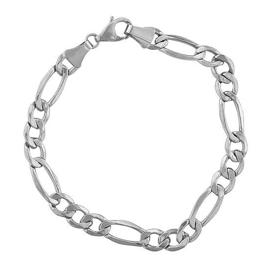 """14K White Gold 8-8 1/2"""" 7mm Hollow Figaro Chain Bracelet"""
