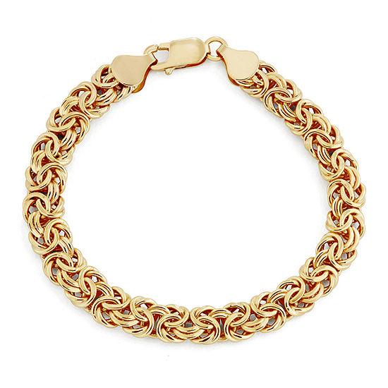 14K Gold 8 Inch Hollow Byzantine Chain Bracelet