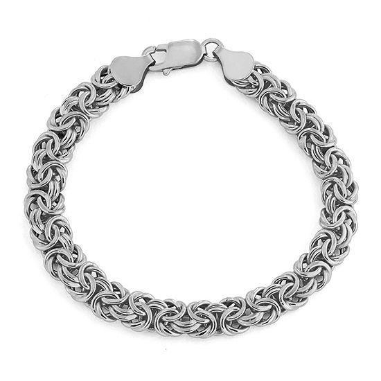 14K White Gold 8 Inch Hollow Byzantine Chain Bracelet