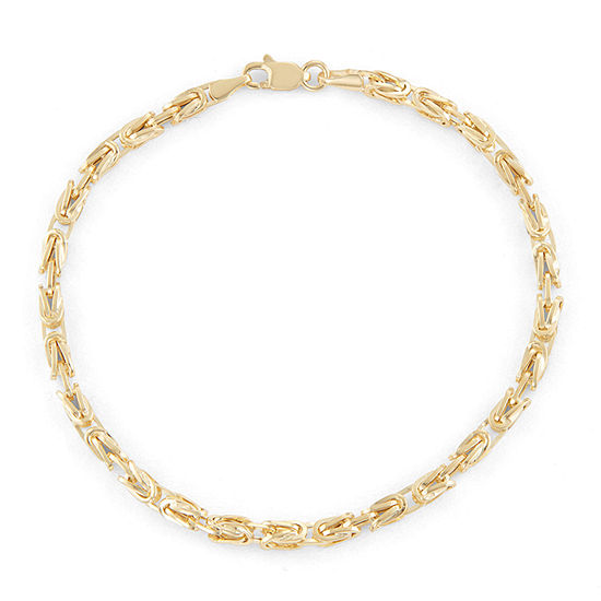 14K Gold 7.25 Inch Hollow Byzantine Chain Bracelet