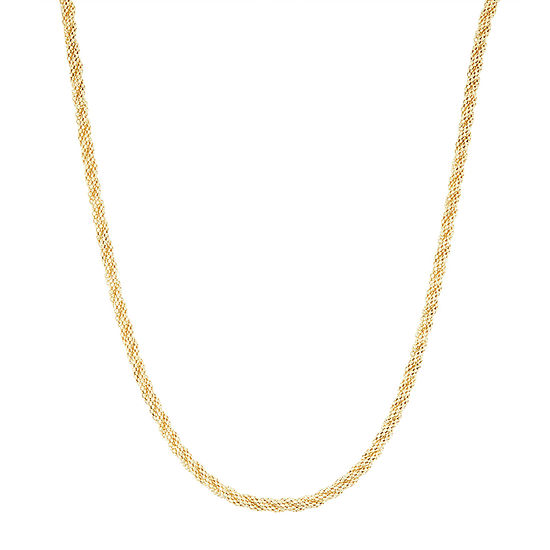 14K Gold 20 Inch Hollow Braid Chain Necklace