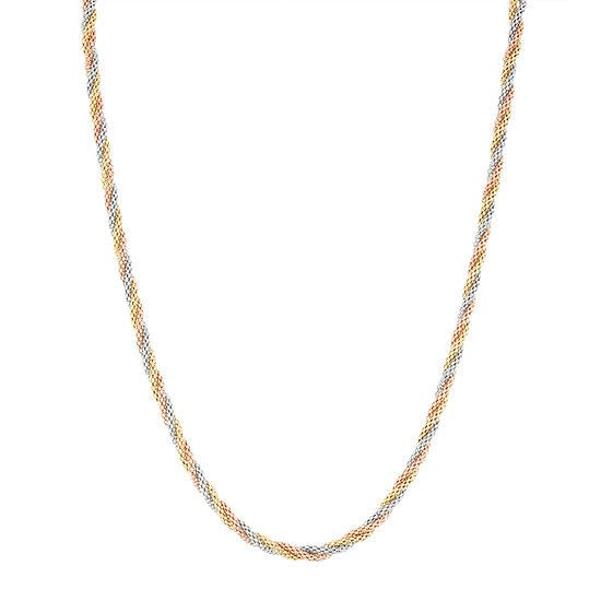 14K Tri-Color Gold 20 Inch Hollow Braid Chain Necklace