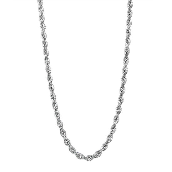 """14K White Gold 18-24"""" 5mm Hollow Rope Chain Necklace"""