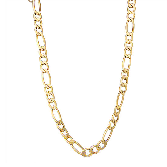 """14K Gold 18-24"""" 7mm Hollow Figaro Chain Necklace"""