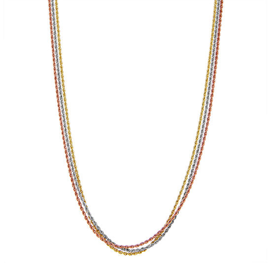 """14K Tri-Color Gold 18-24"""" 4mm Hollow Rope Chain Necklace"""