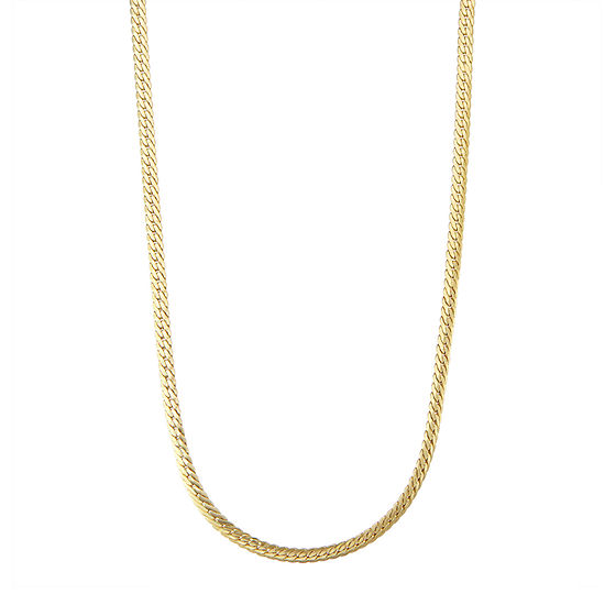 """14K Gold 18-24"""" 4mm Hollow Herringbone Chain Necklace"""