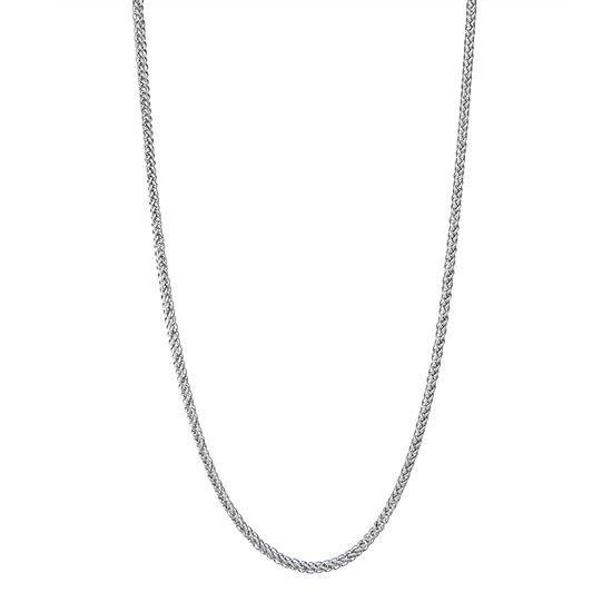 "14K White Gold 18-24"" 2mm Hollow Wheat Chain Necklace"
